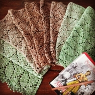 Crochet Shawl by Juli Subari using 2 balls of SW Glitter #03